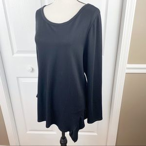 Black Ruffle Hem Wide Neck Knit Top